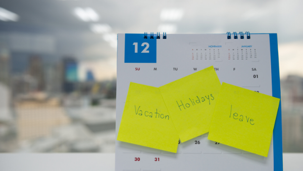 Office worker's calendar marking out holiday taken