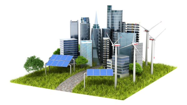 Illustration of a city powered by 'green' energy