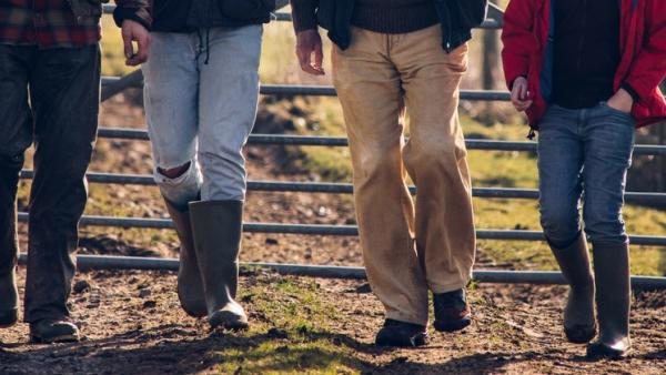 Family walking on farm path
