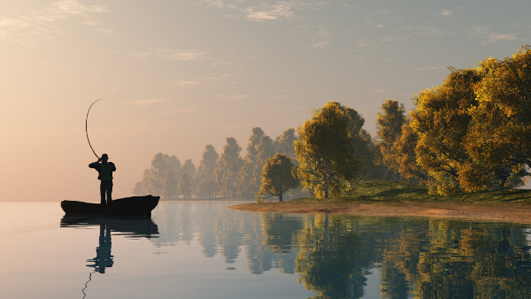 Fishing on a lake