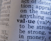Word 'value' and its meaning in a dictionary